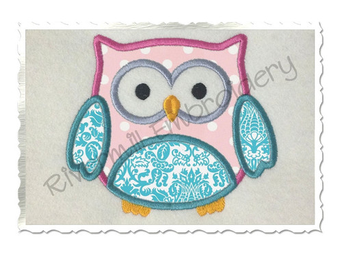 Applique Owl Machine Embroidery Design (Style #2)