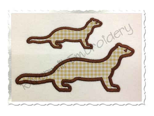 Applique Ferret Silhouette Machine Embroidery Design
