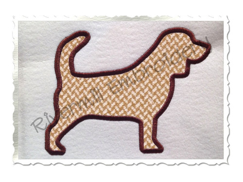 Applique Beagle Dog Silhouette Machine Embroidery Design