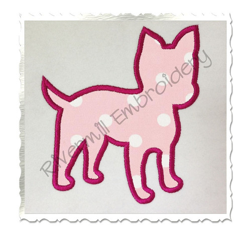 Applique Yorkie Puppy Silhouette Machine Embroidery Design
