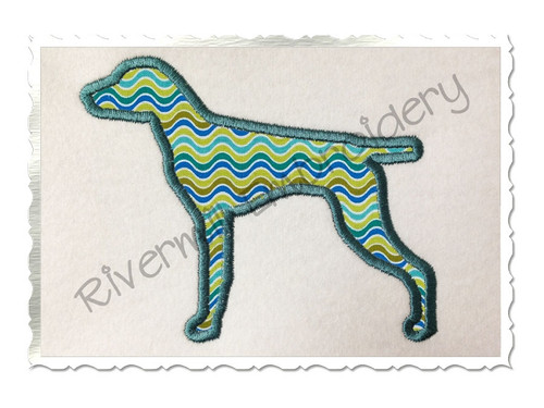 Applique German Shorthaired Pointer Dog Silhouette Machine Embroidery Design