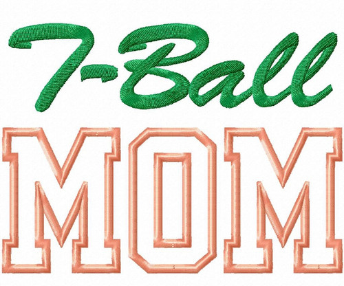 T-Ball Mom Applique Machine Embroidery Design