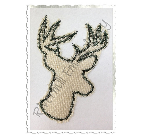 Zig Zag Applique Deer Head Buck Silhouette Machine Embroidery Design