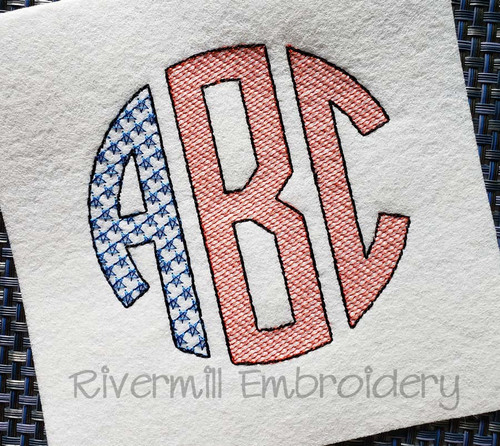 Patriotic Flag Round Circle 3 Letter Monogram Sketch Style Machine Embroidery Alphabet Font