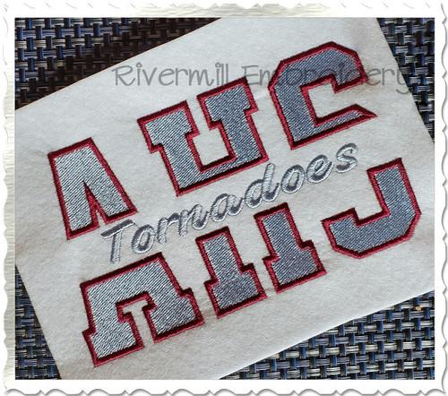 Split Varsity Fill Stitch Machine Embroidery Alphabet