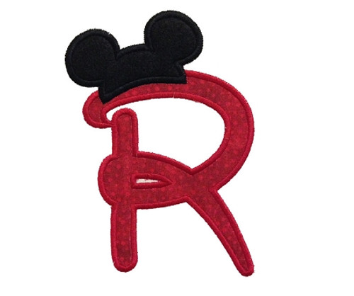 Applique Disney Style Letters with Mouse Ear Hats Machine Embroidery Alphabet