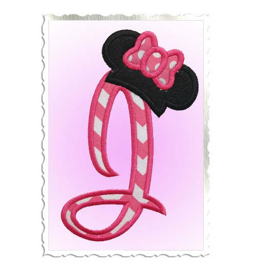Applique Disney Style Letters with Mouse Ear Bow Hats Machine Embroidery Alphabet