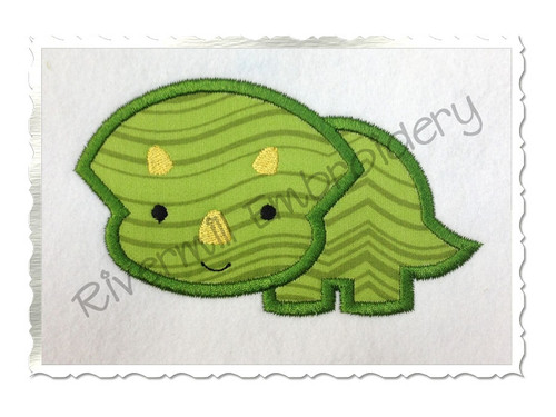 Applique Triceratops Dinosaur Machine Embroidery Design