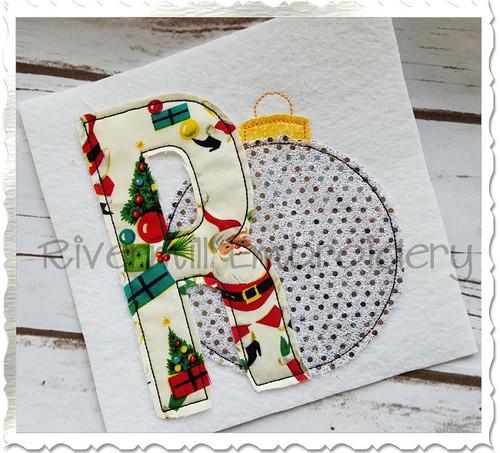 Christmas Ornament Raggy Applique Machine Embroidery Alphabet