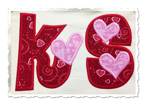 Hearts Applique Machine Embroidery Alphabet