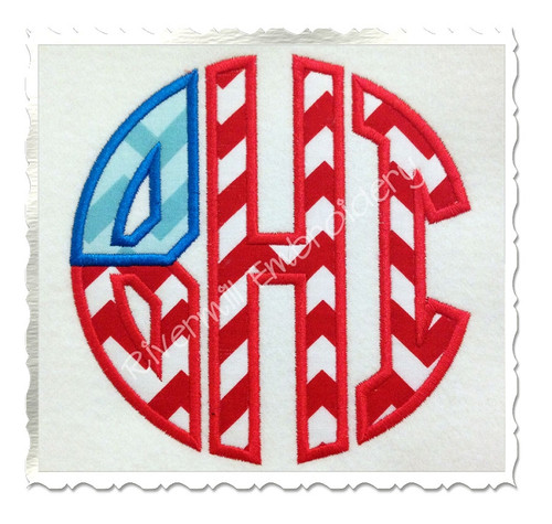 Patriotic Flag Round 3 Letter Monogram Applique Machine Embroidery Alphabet Font