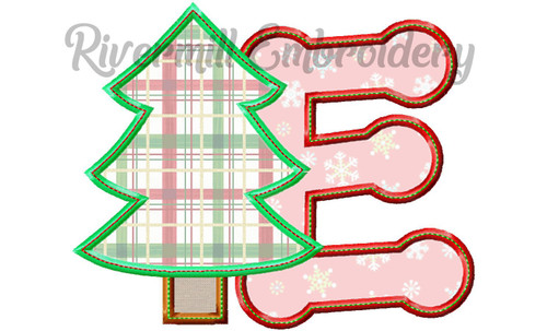Christmas Tree Applique Machine Embroidery Alphabet