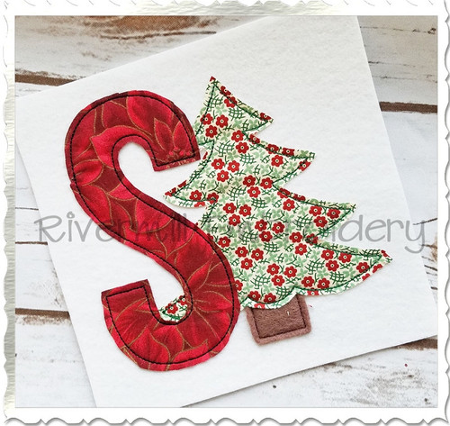 Christmas Tree Raggy Applique Machine Embroidery Alphabet