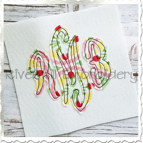 Scroll Monogram Raggy Applique Machine Embroidery Alphabet