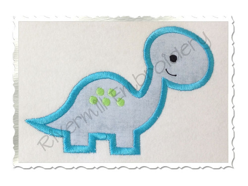 Applique Brontosaurus Dinosaur Machine Embroidery Design