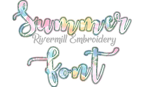 Summer Script Raggy Applique Machine Embroidery Alphabet