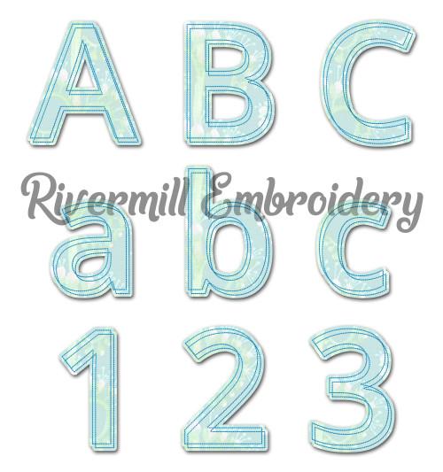 Double Outline Raggy Applique Machine Embroidery Alphabet