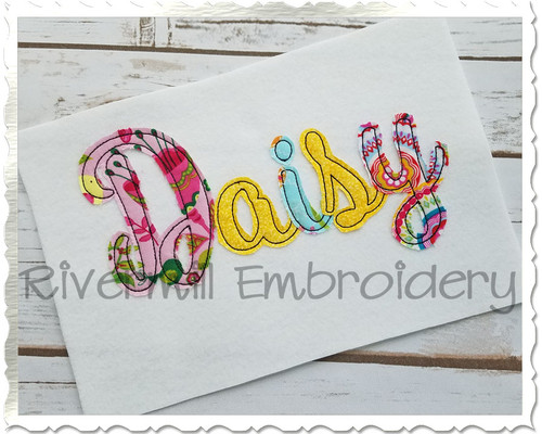Daisy Script Raggy Applique Machine Embroidery Alphabet