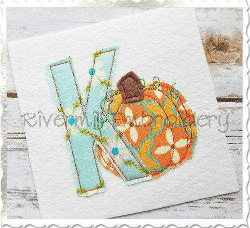 Pumpkin Raggy Applique Machine Embroidery Alphabet