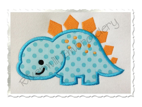 Applique Stegosaurus Dinosaur Machine Embroidery Design