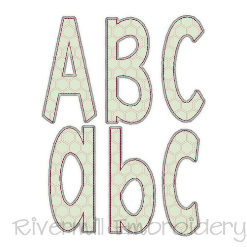 Stretch Raggy Applique Machine Embroidery Alphabet