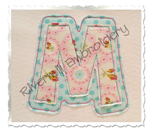 Happy Raggy Double Applique Machine Embroidery Alphabet Font