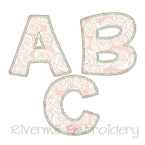 Happy Raggy Applique Machine Embroidery Alphabet
