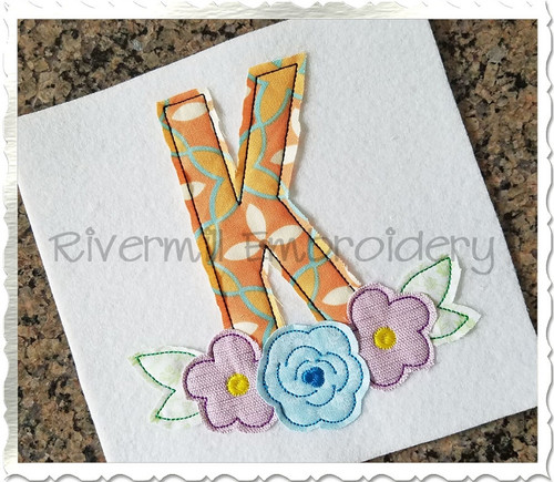 Flowers Raggy Applique Machine Embroidery Alphabet