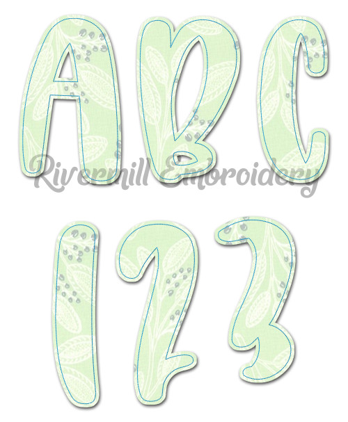 Large Brooklyn Raggy Applique Machine Embroidery Alphabet
