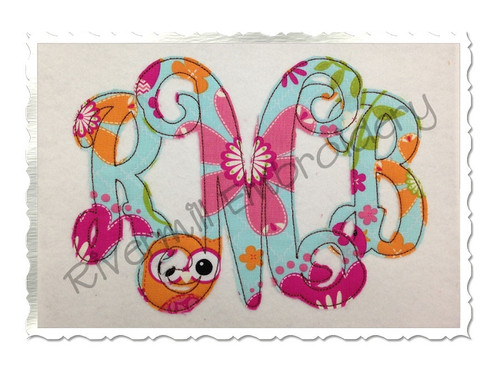 Raggy Intertwined Monogram Applique Machine Embroidery Alphabet Font