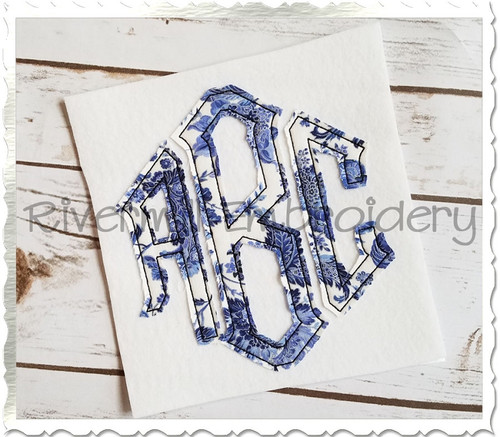 Raggy Point Monogram Applique Machine Embroidery Alphabet Font