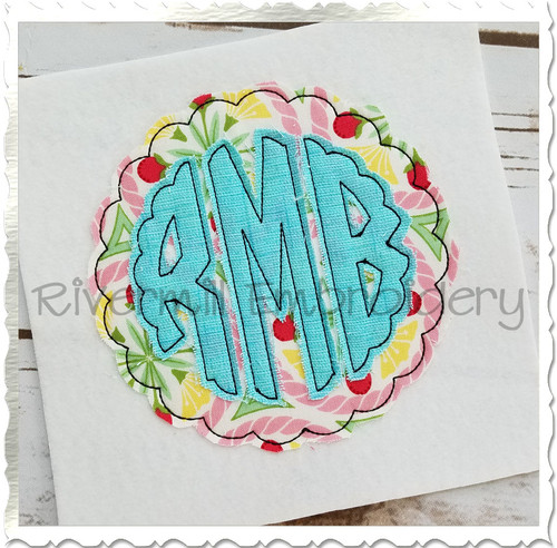 Scalloped Round Raggy Applique Machine Embroidery Alphabet