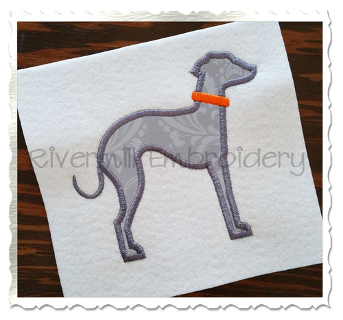 Applique Italian Greyhound Dog Silhouette Machine Embroidery Design