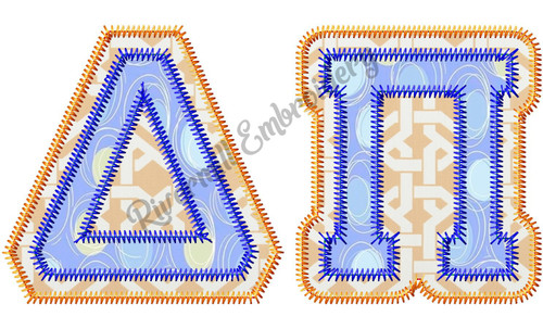 Zig Zag Double Applique Greek Varsity Machine Embroidery Alphabet