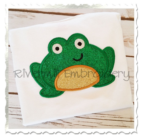 Applique Frog Machine Embroidery Design