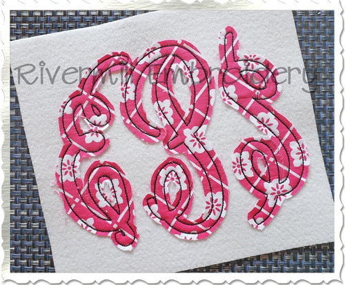 Classic Monogram Raggy Applique Machine Embroidery Alphabet