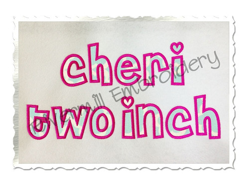 Small 2 Inch Cheri Applique Machine Embroidery Alphabet