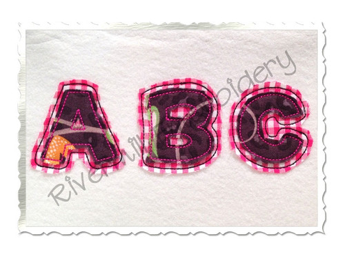 Small 2 Inch Happy Raggy Double Applique Machine Embroidery Alphabet