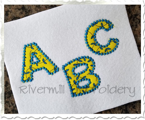 Small 2 Inch Happy Candlwick Applique Machine Embroidery Alphabet