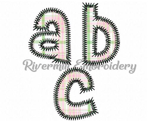 2 Inch Cheri Zig Zag Applique Machine Embroidery Alphabet