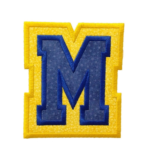 Double Applique Varsity Machine Embroidery Alphabet Font