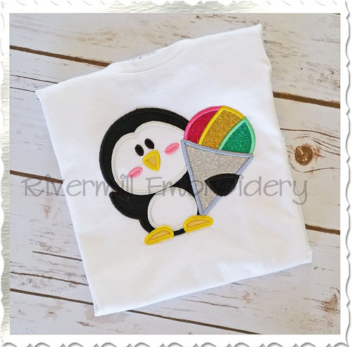 Applique Penguin With A Snow Cone Machine Embroidery Design