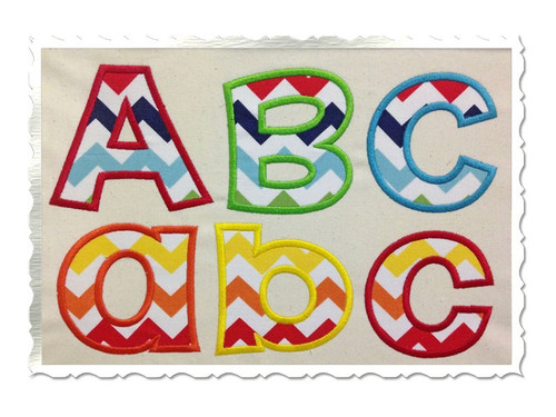 Happy Applique Machine Embroidery Alphabet Font