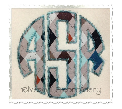 Zig Zag Round 3 Letter Monogram Applique Machine Embroidery Alphabet Font