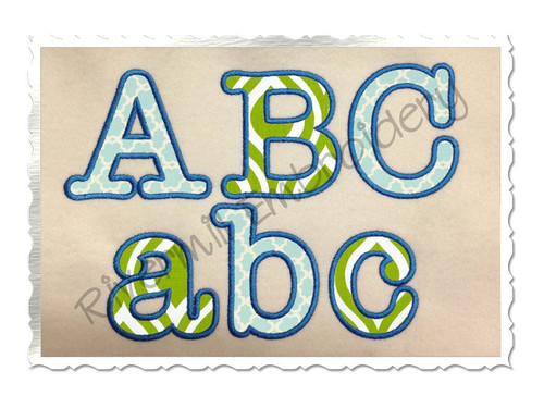 Typewriter Applique Machine Embroidery Alphabet Font