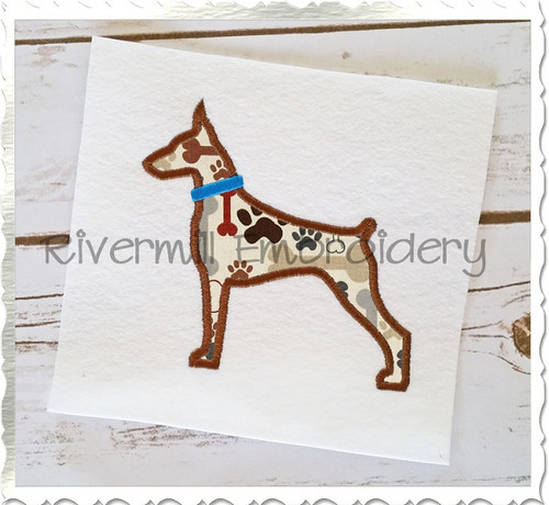Applique Doberman With a Collar Dog Silhouette Machine Embroidery Design