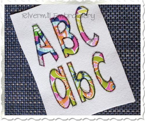 Stretch Zig Zag Applique Machine Embroidery Alphabet