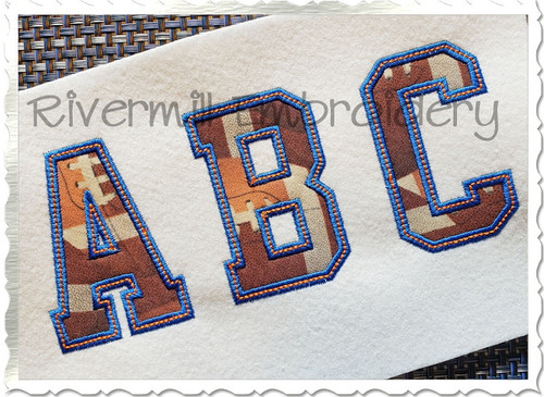 Varsity Applique w/ Top Stitch Machine Embroidery Alphabet