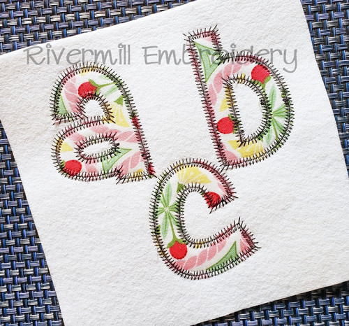 Cheri Zig Zag Applique Machine Embroidery Alphabet