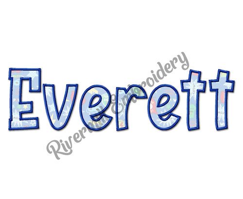 Everett Applique Machine Embroidery Alphabet